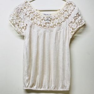 American Rag Gathered Embroidered Peasant Top